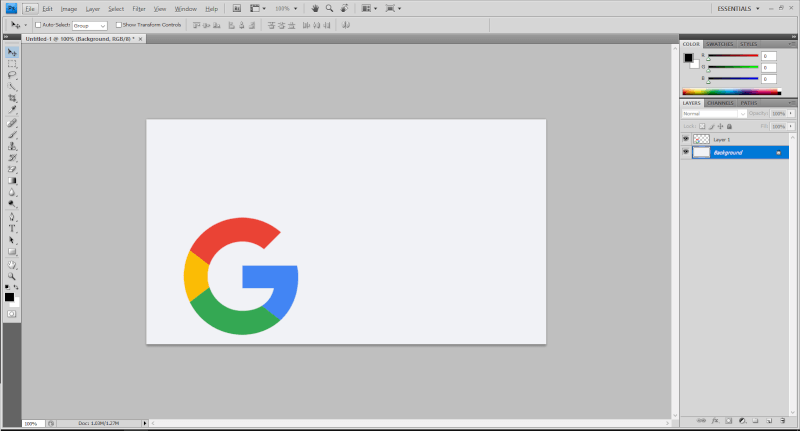 Adobe Photoshop with Google logo - Quickest Way to Center an Image in Photoshop 5
