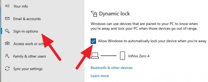 Dynamic lock activated - How to Automatically Lock Windows 10 When You're Away 3