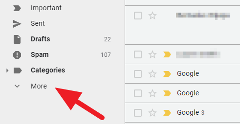 More button Gmail - How to Find Archived Email on Gmail Desktop 13