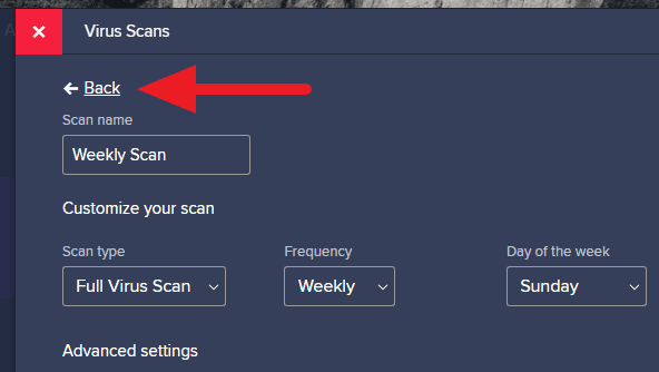 back avast - How to Schedule Scan on Avast Free Antivirus 23