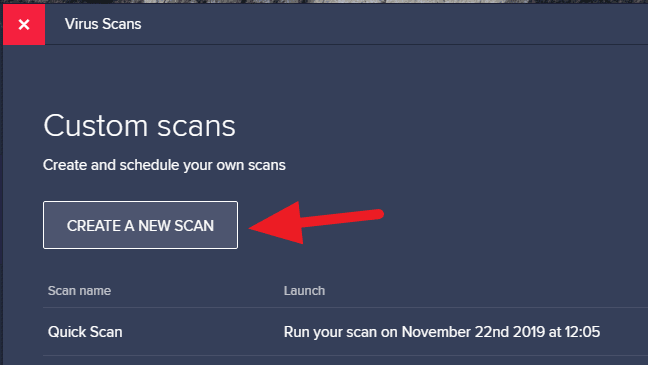 create a new scan - How to Schedule Scan on Avast Free Antivirus 13