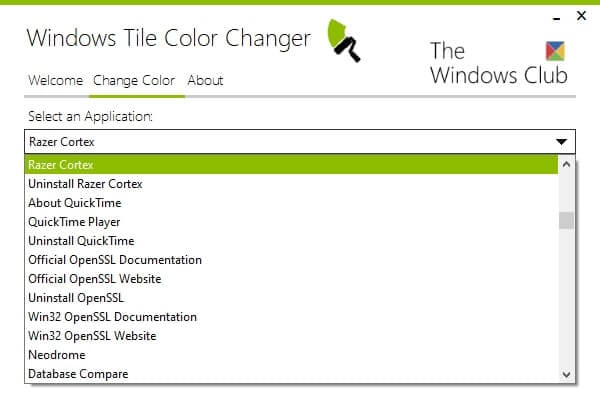 Select an Application - How Change Tile Color for a Specific Program on Windows 10 9