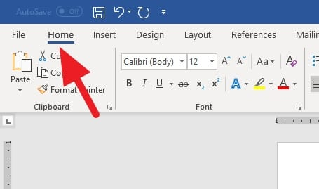 Home menu - How to Add Heading in Microsoft Word 7