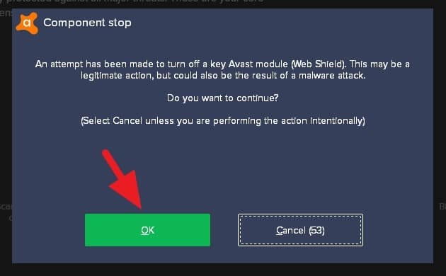 confirm stop - How to Stop Avast From Blocking Websites 15