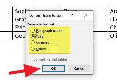 convert table to - How to Remove Table without Deleting Text in Microsoft Word 11