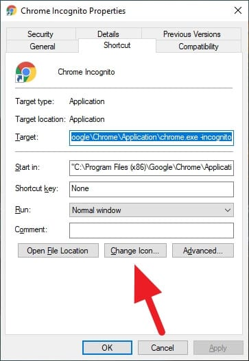change icon - How to Create Chrome Incognito Mode Shortcut on Desktop 17