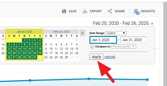 select month - How to See How Many Visitors Per Month on Google Analytics 11