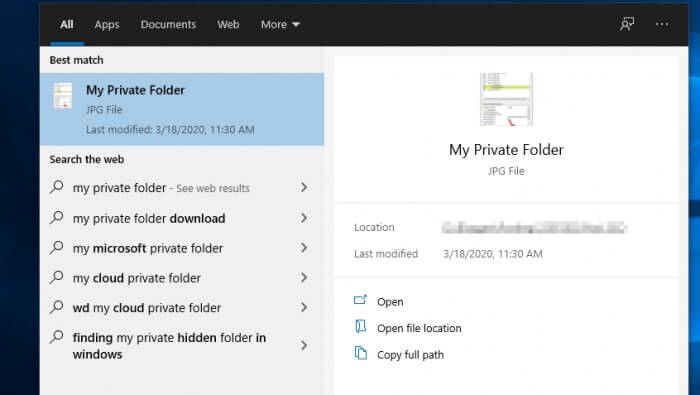 Private files search menu - How to Exclude Folders from Windows Start Search 3
