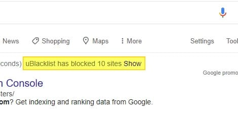 show blacklisted site - How Block Website from Google Search Results 15