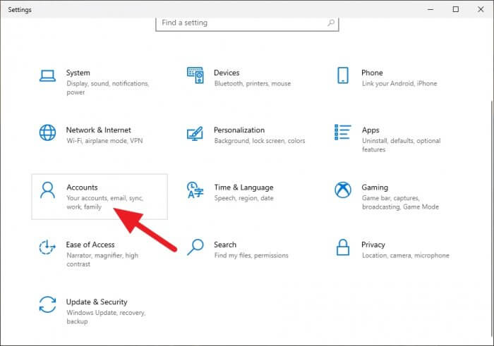 Accounts 1 - How to Enable Picture Password on Windows 10 7