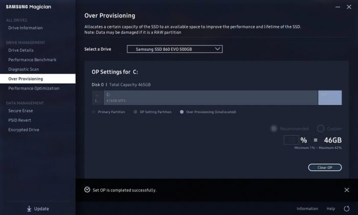SET OP is completed successfully - How to Enable Over Provisioning on Samsung SSD 13