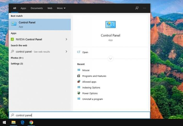 control panel 1 - How to Switch Mouse Button for Left-Handed on Windows 7