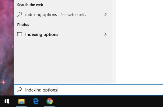 indexing options 1 - How to Rebuild Index in Windows 10 5