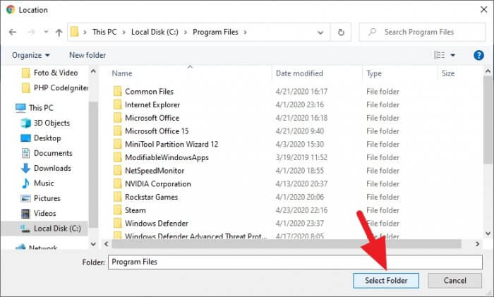 select folder - How to Change Chrome PC Default Download Location 6