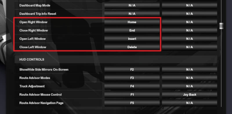 Assign keys - How to Open Side Windows on Euro Truck Simulator 2 9