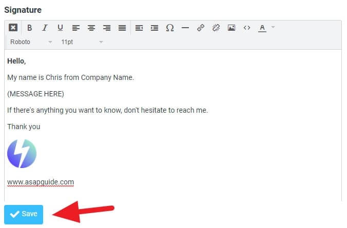Save Signature - How to Create Email Template in RoundCube Webmail 13