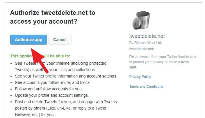 Authorize app - How to Delete All Your Tweets Instantly 7