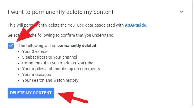 Delete my content - How to Delete Youtube Channel Without the Main Account 15