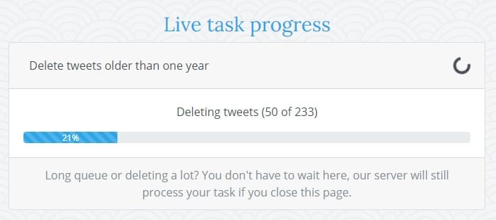 Live task progress - How to Delete All Your Tweets Instantly 11
