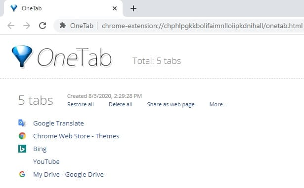 OneTab page - 7 Tips to Make Chrome Faster and Consume Less Memory 11