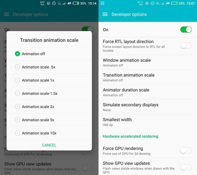 disable animations - 7 Proven Tips to Free More RAM on Android Phones 9
