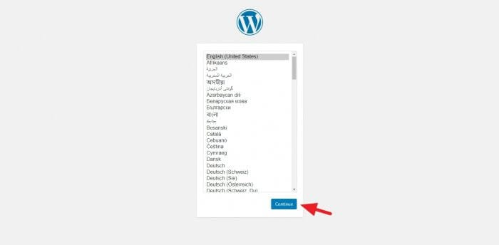 Select language - How to Install WordPress Subdirectory on Cloudways 39
