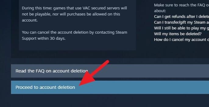 Proceed to account deletion - How to Permanently Delete Your Steam Account 11