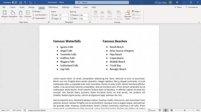 two columns only for lists - How to Make Bullet Points List in Ms. Word Side By Side 1