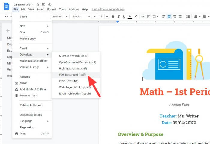 Download as PDF - How to Quickly Save Google Docs Document as PDF 3