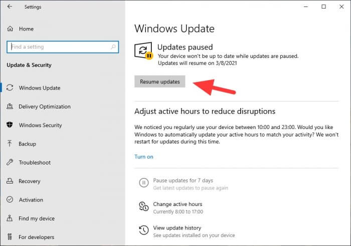 Resume updates - How to Disable Windows Update Permanently or Temporarily 1